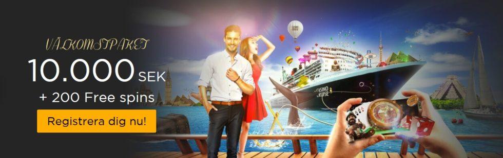 Casino Cruise välkomtpaket - 10 000 kr i välkomstbonus och 200 Free spins