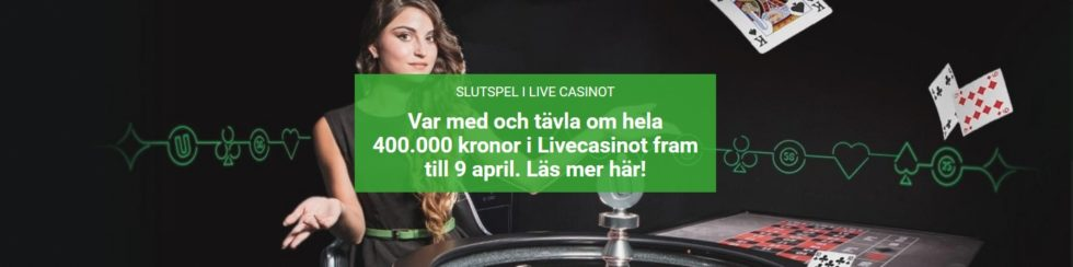 Spela live casino - slutspel i Live Casino med 400 000 kronor i potten!