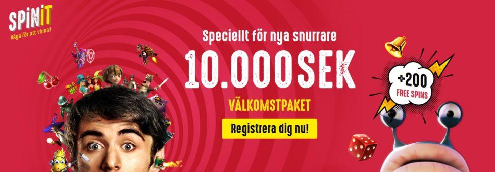 Spinit casino ger dig 10 000 kr + 200 Free Spins i välkomstpaket