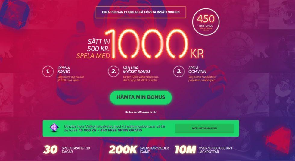 iGame casinos välkomstbonus - upp till 10 000 kr i bonus, 150 free spins och 450 frisnurr vid registering och utan insättning