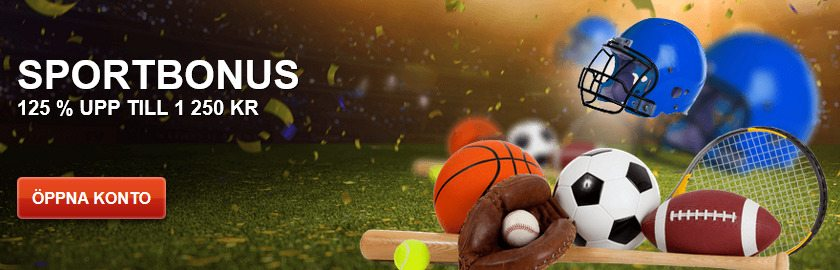 SverigeKronan casino sportbonus upp til 1 250 kr