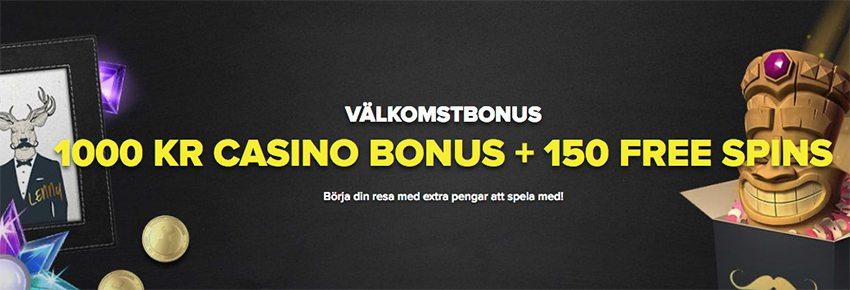 SuperLenny Casinos välkomstbonus 200% upp till 1000kr och 150 free spins