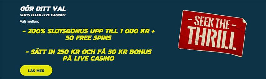 skapa konto hos Thrills Casino och valj din välkomstbonus