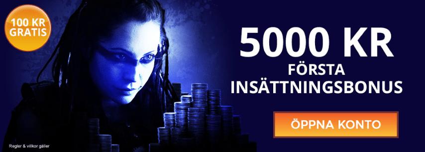 Svenskacasino.com casinos välkomstbonus upp till 5 000 kr och pengar gratis
