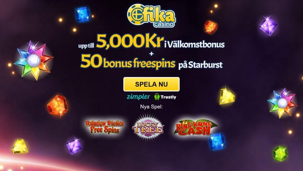 Fika casino - 50 bonus freespins + 5000 kr bonus
