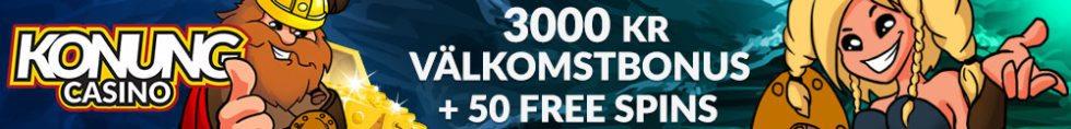 Konung Casino välkomstbonus - 3000 kr och 50 free spins på din första insättning