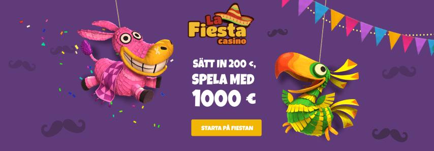 La Fiesta Casino bonus - sätt in 2 000 kr spela med 10 000 kr
