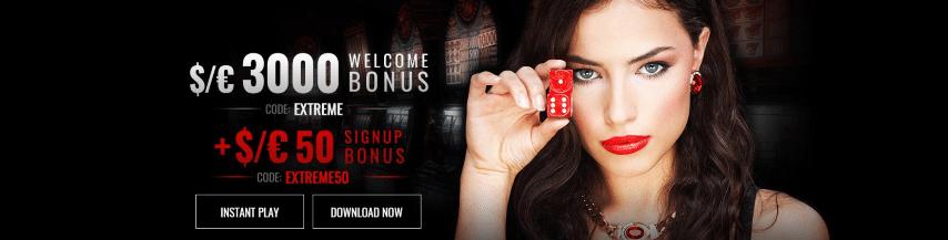 Casino Extreme välkomstbonus upp till 30000 kr