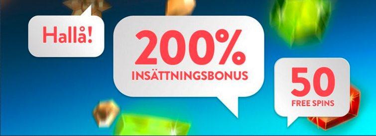 Få 200% och 50 frisnurr med din första insättningen på Betspin Casino