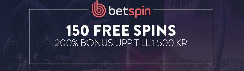 Betspin Casinos bonus ger dig upp till 1 500kr och 150 free spins
