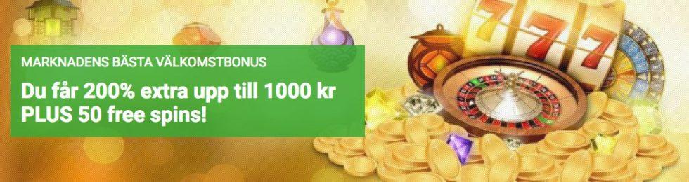 Med Unibet välkomstbonus du får 200% i bnus upp till 1 000kr och 50 free spins