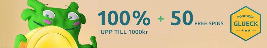 DrueckGlueck Casino välkomstbonus 100% och 50 gratissnurr