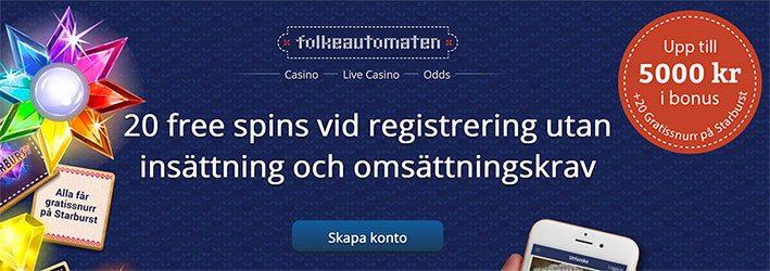 Folkeautomaten casino free spins - 20 gratis free spins vid registrering och utan omsättningskrav