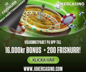 Joker Casino välkomstpaket ger dig frisnurr utan insättningskrav