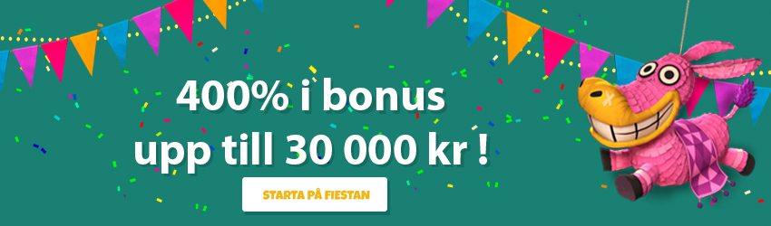 La Fiesta Casino välkomstpaket upp till 30 000 kronor