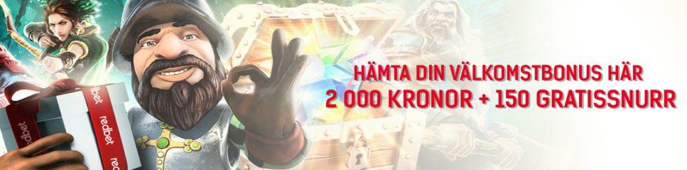 Redbet Casinos bonus upp till 2 000 kr och 150 free spins i välkomstbonus