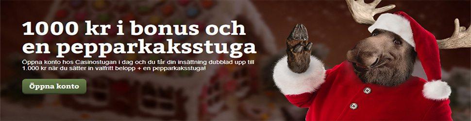julkampanj hos Casinostugan julkalender vinn 1000 SEK och en pepparskaksstuga