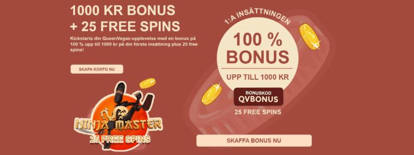 Queen Vegas Casino 100% upp till 1 000 kr ki casino bonus