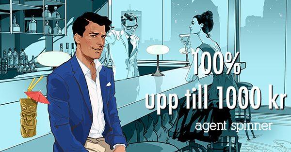 Agent Spinner Casino få 100% i bonus upp till 1000 kronor