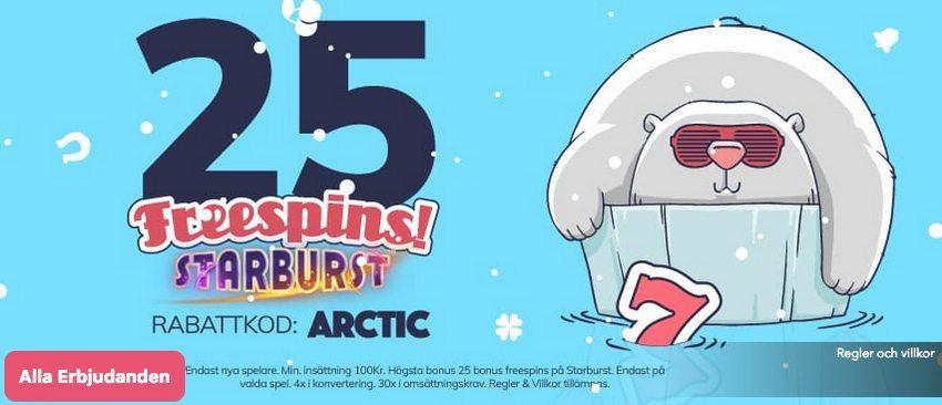 Få hos Arctic Spins Casino 25 free spins på Starburst