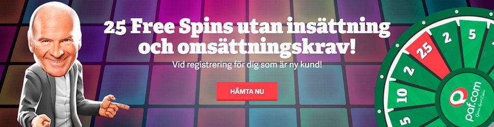 Paf Casino free spins utan insättning