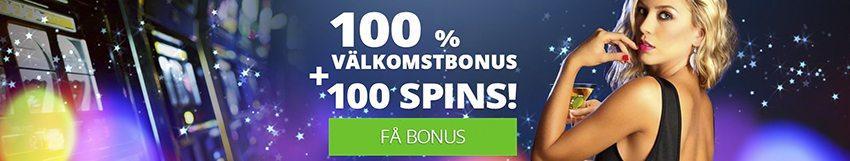 Slotsmoon casino välkomstbonus ger dig 100% bonus och 100 spins