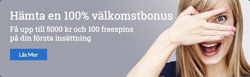 Sverigeautomaten Välkomstbonus 100 free spins och upp till 5000kr