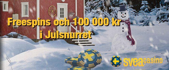 SveaCasino julkalender freespins och 100 000 kr i julsnurret