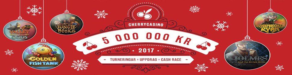 CherryCasino julkalender 2017 - Cash Race, uppdrag & turneringar med 5 miljoner i potten!