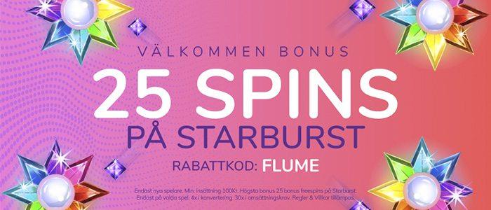 Flume casino ger dig 25 freespins på Starburts