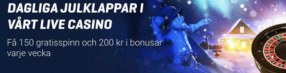 Nordicbet julkalender 150 gratisspinn och 200 kr varje vecka