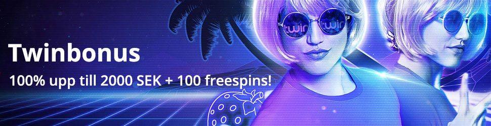 Twin casino Twinbonus upp till 2000 kr och 100 free spins