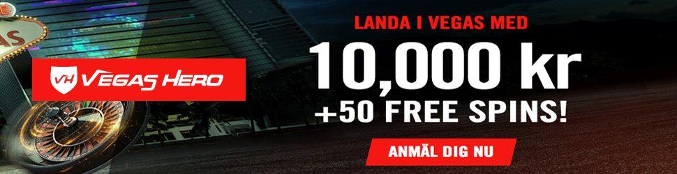 Landa i Vegas Hero Casino med 10000kr och 50 freespins
