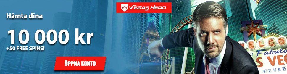 Hos Vegas Hero Casino få upp till 10000kr och 5 frisnurr