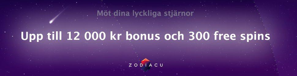 Hos Zodiacu casino får du 300 free spins och upp till 12000 kr