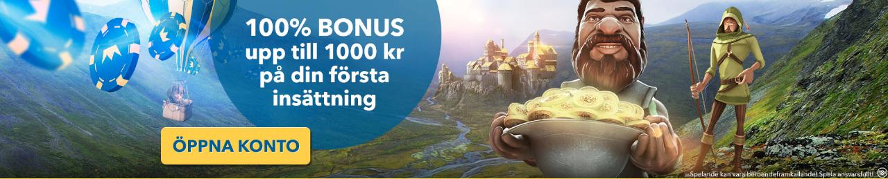 Karlcasino bonus ger dig 100% upp till 1000 kronor