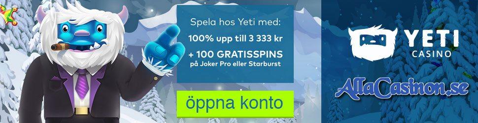 Yeti casino välkomstpaket upp till 3333 kronor och 100 free spins