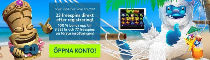 Yeti Casino välkomstbonus 100% extra bonus upp till 3333kr
