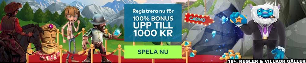 Yeti casino välkomstpaket upp till 1000 kronor