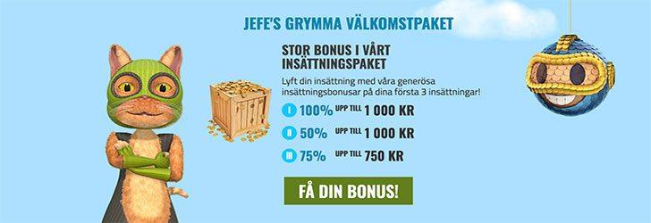 CasinoJEFE välkomstpaket upp till 2 750 kr bonus