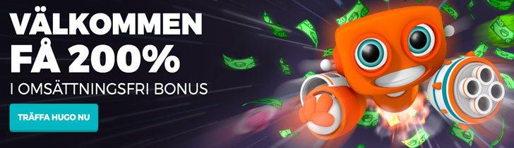 HappyHugo casino välkomstpaket 200% bonus upp till 2000kr