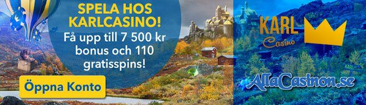 Karlcasino bonus ger dig 100% upp till 7500 kr och 110 free spins