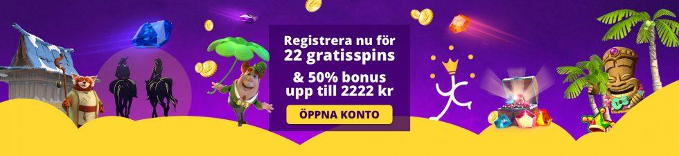 Yako casino välkomstbonus - 22 gratis free spins vid registrering och 50% upp till 2 222 kr