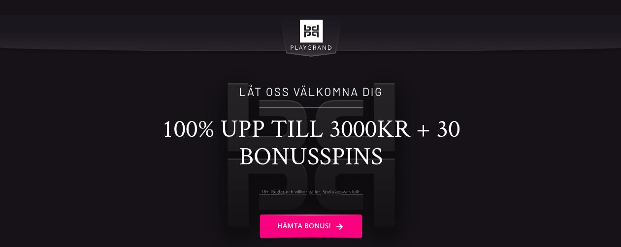 PlayGrand Nätcasino bonus - 100% upp till 3000kr + 30 freespins!