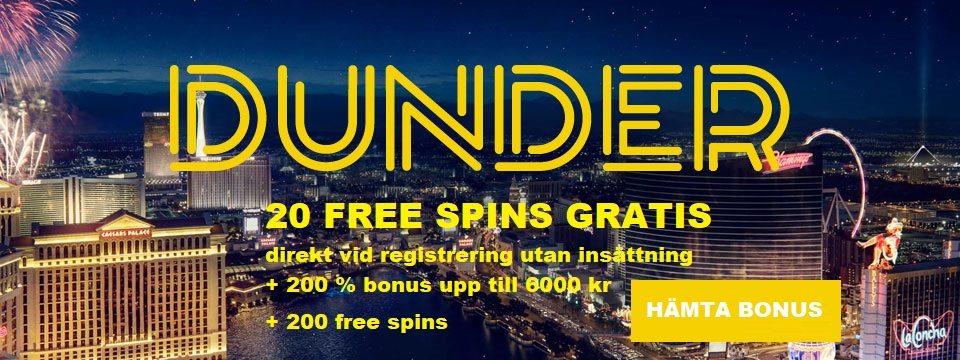 Dunder casino bonus - få 20 free spins utan insättning + 6000 i casino bonus & 200 freespins!