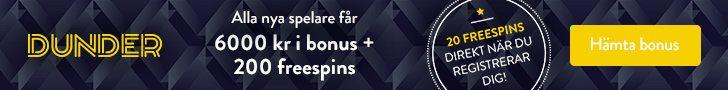Dunder casino no deposit bonus - få 20 free spins utan insättning!