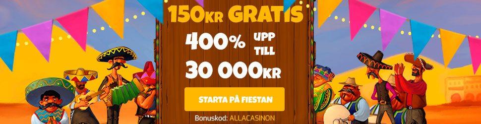 La Fiesta casino no deposit bonus - ange kampanjkoden ALLACASINON och få 150 kr gratis