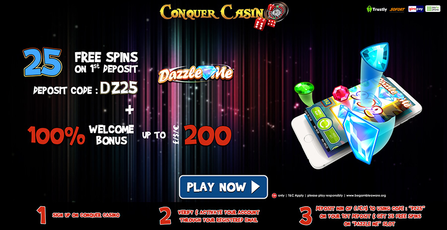 Conquer Casino välkomstpaket - hämta 25 free spins och 100% extra bonus vid din första insättning