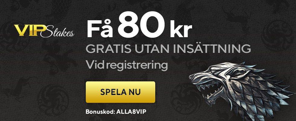 Vipstakes Casino no deposit bonus - få 80 kronor vid registering