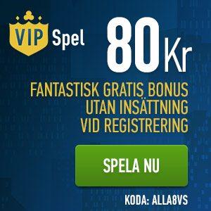 VIP Spel no deposit bonus - 80 kronor utan insättning